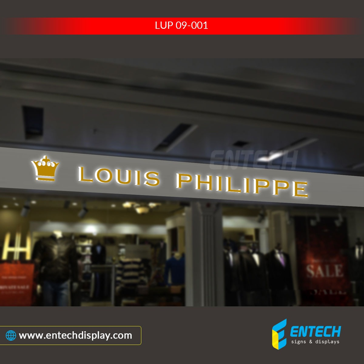Louis Philippe storefron mini acrylic signs - mini acrylic signs & letters